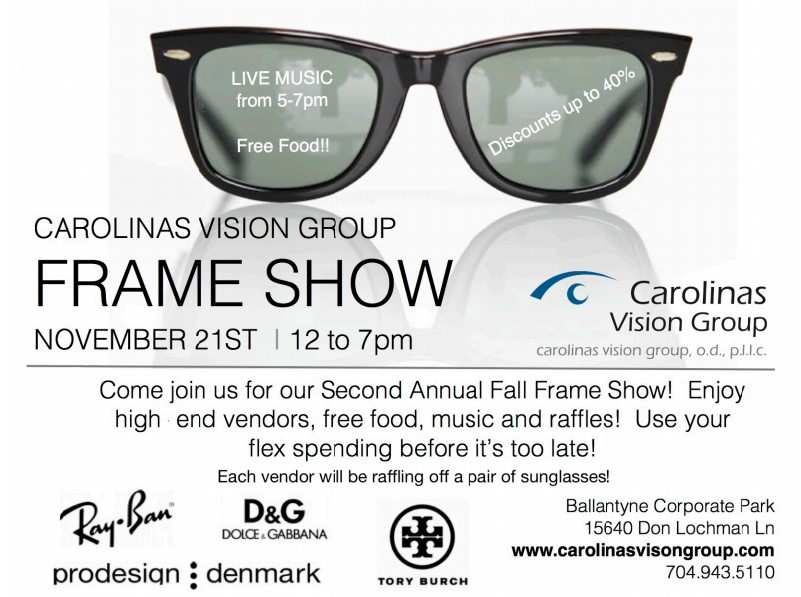 Charlotte eyewear frame show at Carolinas Vision Group with special price savings, music, food, and free sunglasses raffles